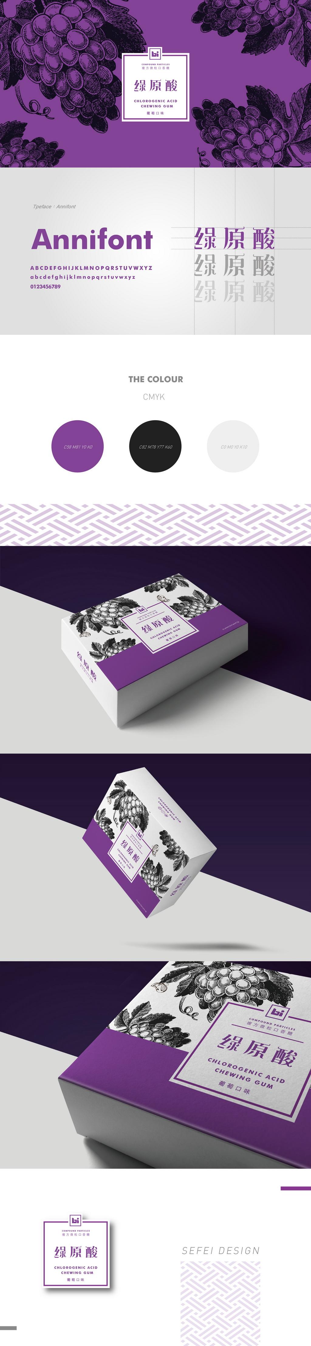 美佳胜肽科技-樂律-葡萄口味複方微粒口香糖盒裝設計